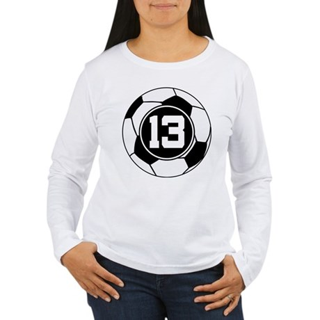 Soccer Number 13 Player Women's Long Sleeve T-Shir