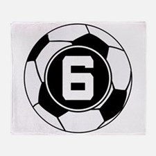 Soccer Number 6 Player Throw Blanket