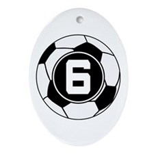 Soccer Number 6 Player Ornament (Oval)