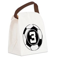 Soccer Number 3 Player Canvas Lunch Bag