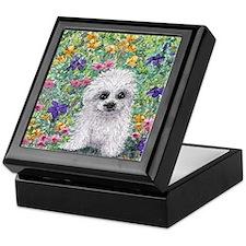 Maltese pup in the garden Keepsake Box