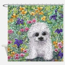 Maltese pup in the garden Shower Curtain