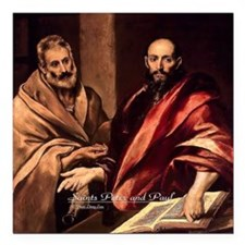 "Saints Peter and Paul Square Car Magnet 3"" x 3"""