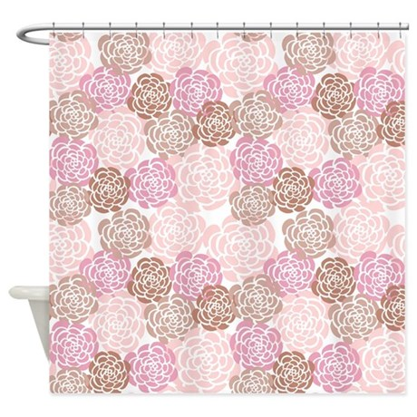 pink and brown floral shower curtain by mcornwallshop