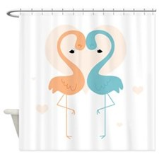 Coral and Aqua Flamingos Shower Curtain