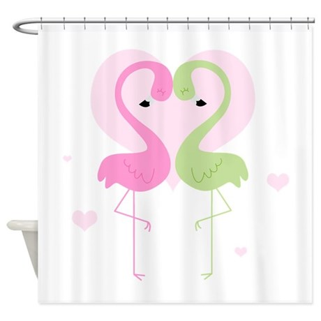 Pink and Green Flamingos Shower Curtain