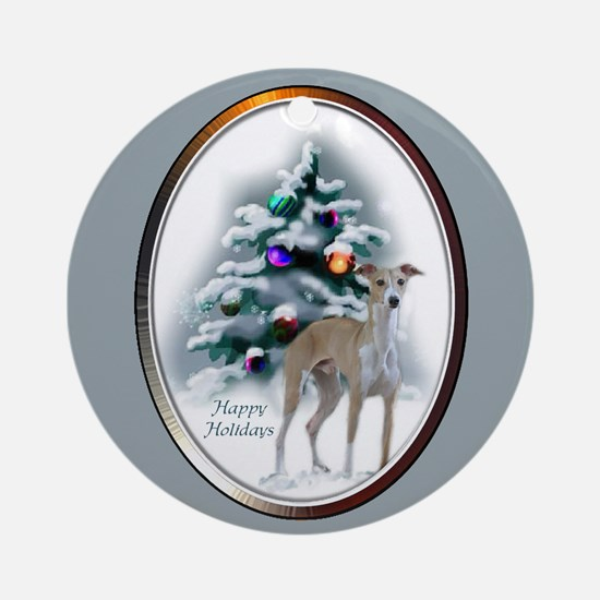 Italian Greyhound Christmas Round Ornament