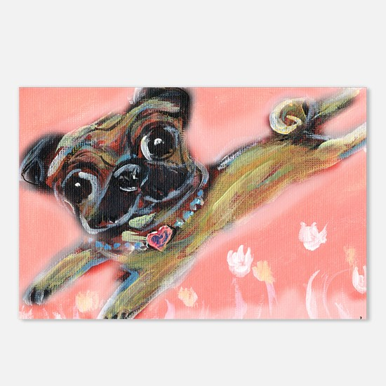 Flying pug love Postcards (Package of 8)