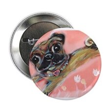 "Flying pug love 2.25"" Button"