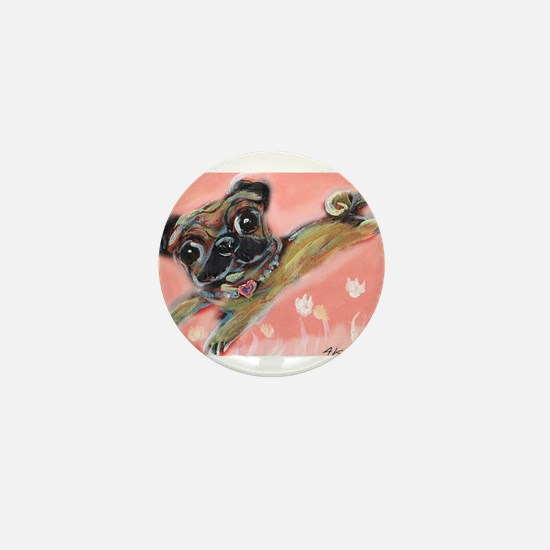 Flying pug love Mini Button