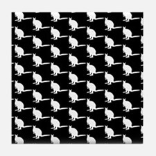 Monochrome Wallaby Pattern. Tile Coaster