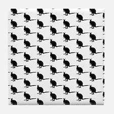 Wallaby Pattern. Black. Tile Coaster