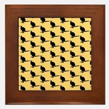 Wallaby Pattern. Yellow. Framed Tile