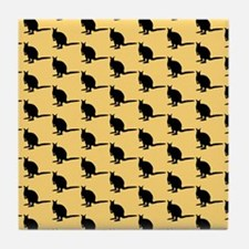 Wallaby Pattern. Yellow. Tile Coaster