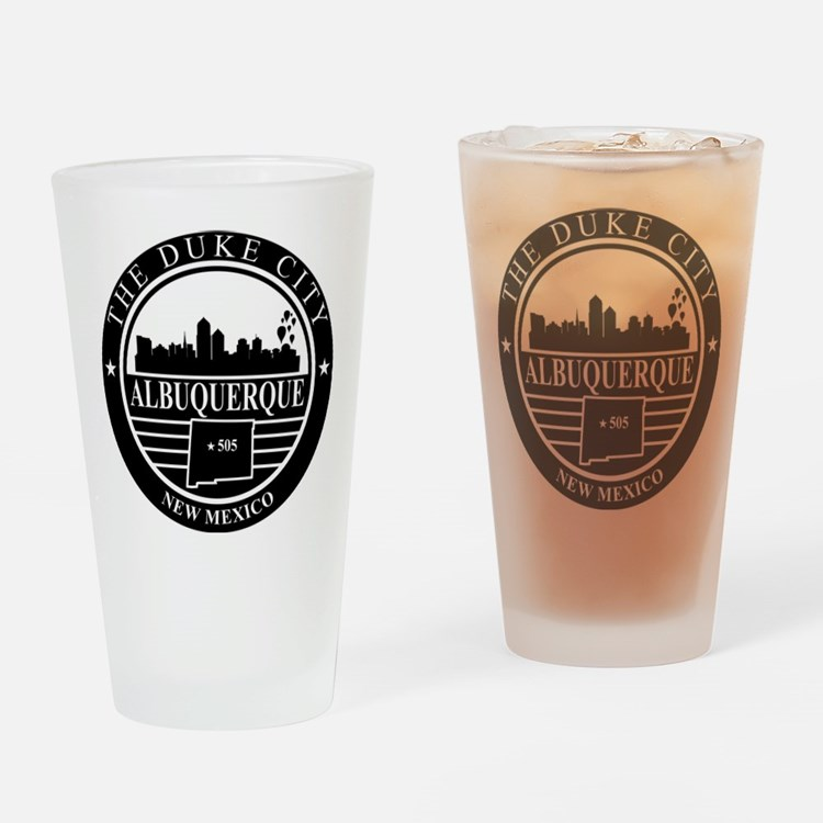 Albuquerque logo black and white Drinking Glass