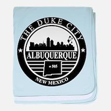 Albuquerque logo black and white baby blanket