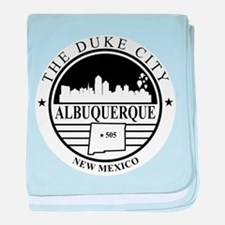 Albuquerque logo white and black baby blanket