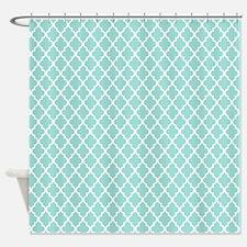 Mint Quatrefoil Pattern Shower Curtain
