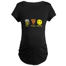 Beer Pizza Happiness Maternity T-Shirt