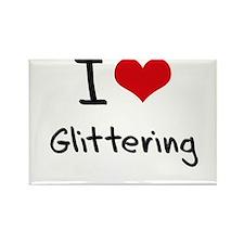 I Love Glittering Rectangle Magnet
