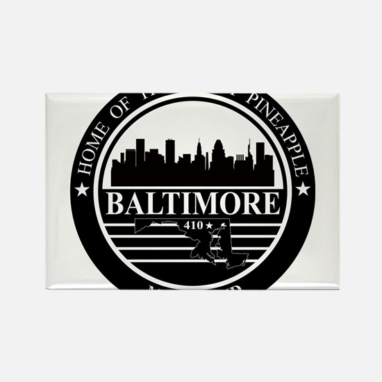 Baltimore logo black and white Rectangle Magnet