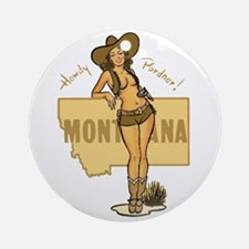 Vintage Montana Pinup Ornament (Round)