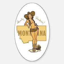 Vintage Montana Pinup Sticker (Oval)