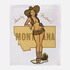 Vintage Montana Pinup Throw Blanket