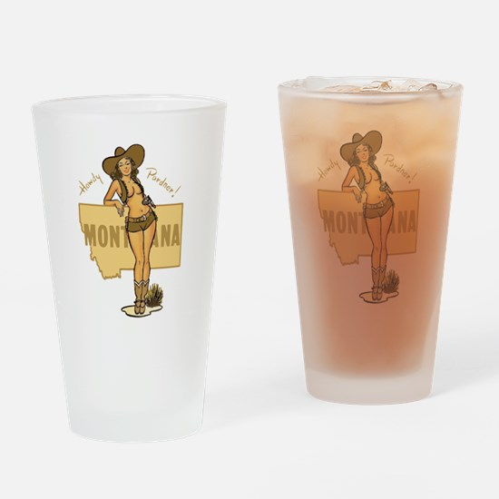 Vintage Montana Pinup Drinking Glass