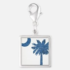 Vintage South Carolina Flag Silver Square Charm