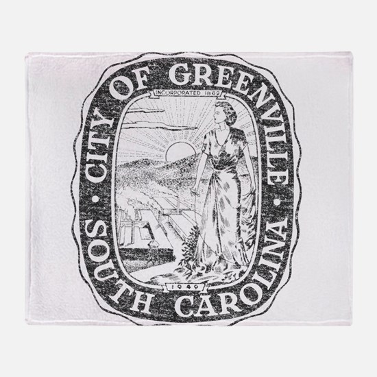 Faded Greenville South Carolina Throw Blanket