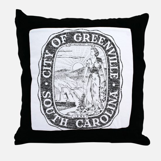Faded Greenville South Carolina Throw Pillow
