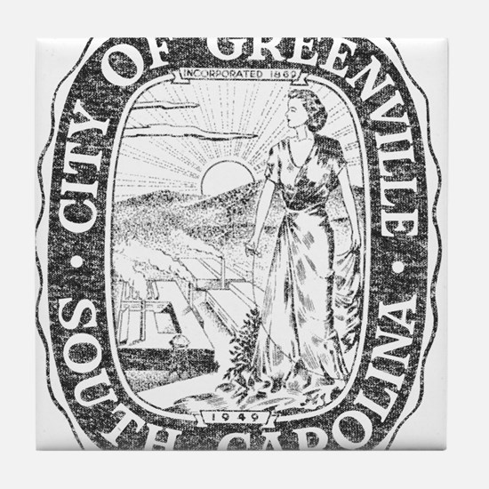 Faded Greenville South Carolina Tile Coaster