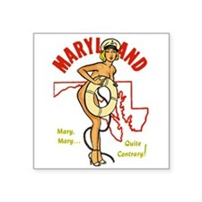 "Vintage Maryland Pinup Square Sticker 3"" x 3"""