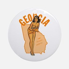 Vintage Georgia Pinup Ornament (Round)