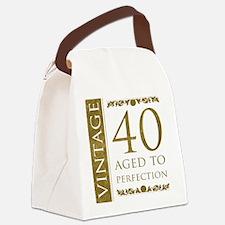 Fancy Vintage 40th Birthday Canvas Lunch Bag
