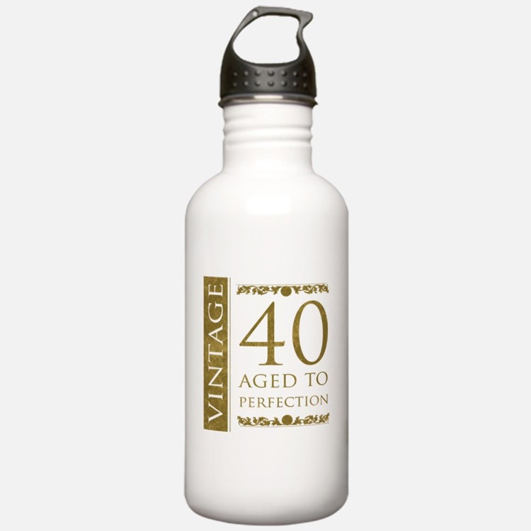 Fancy Vintage 40th Birthday Water Bottle