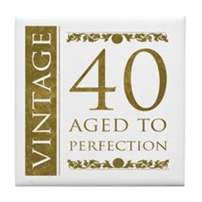 Fancy Vintage 40th Birthday Tile Coaster