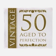 Fancy Vintage 50th Birthday Throw Blanket