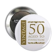 "Fancy Vintage 50th Birthday 2.25"" Button"