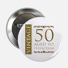 "Fancy Vintage 50th Birthday 2.25"" Button"