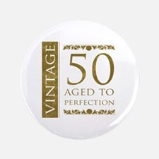 "Fancy Vintage 50th Birthday 3.5"" Button"