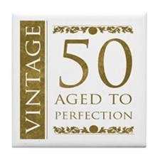 Fancy Vintage 50th Birthday Tile Coaster