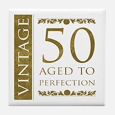 Fancy Vintage 50th Birthday Tile Coaster