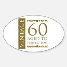 Fancy Vintage 60th Birthday Sticker (Oval)