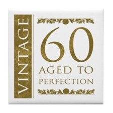 Fancy Vintage 60th Birthday Tile Coaster