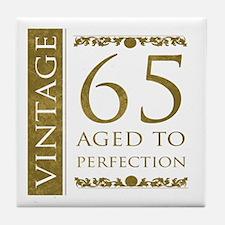 Fancy Vintage 65th Birthday Tile Coaster
