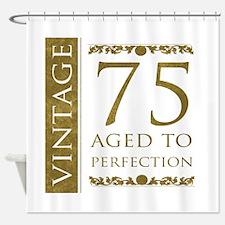 Fancy Vintage 75th Birthday Shower Curtain