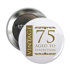 "Fancy Vintage 75th Birthday 2.25"" Button (10 pack)"