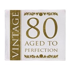 Fancy Vintage 80th Birthday Throw Blanket